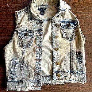 Distressed washed out denim jean vest